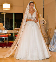 V-neck A-line Wedding Dress with Applique , Fashion Bridal Dress BDS0251