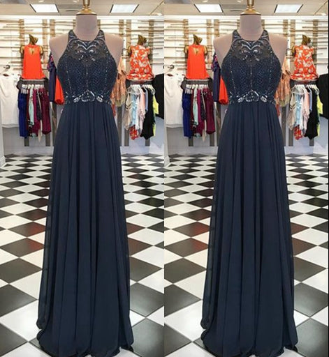Fashion Top Beaded Chiffon Long Prom Dress ,Party Dress ,Formal Dress, PDS0534