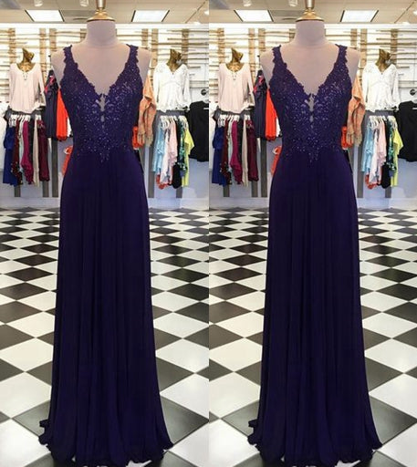 Fashion V-neck Chiffon Long Prom Dress With Applique and Beading ,Party Dress ,Formal Dress, PDS0533