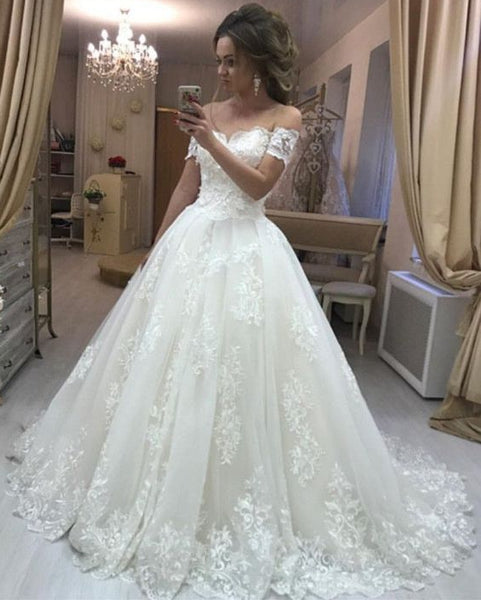 Off the Shoulder Lace/Tulle Wedding Dress Bridal Dresses Vestidos de Novia BDS0576