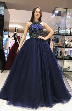 Backless Ball Gown Prom Dress, Modest Long Homecoming Dress ,Beading Graduation Party Dress Formal Dress PDS0754