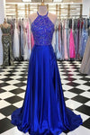 Halter Neck Top Beaded Long Prom Dress, Wedding Party Dress ,Formal Dress PDS0515