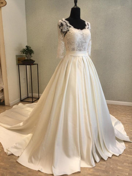 Satin Wedding Dress with Sleeves , A-line Bridal Dress ,Custom Made Dress For Wedding BDS0691