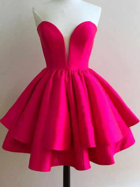 Short Satin Homecoming Dress , Short Prom Dress, PDS0127