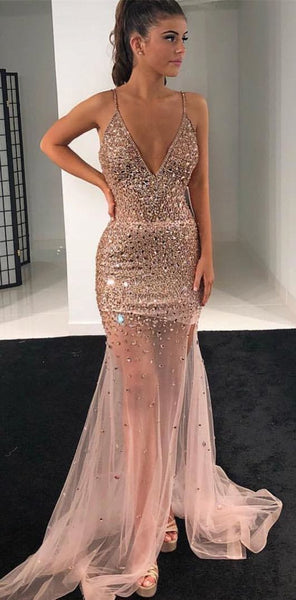 Sexy Mermaid Beading Long Prom Dress,Sweet 16 Dress, Pageant Dress, Wedding Party Dress PDS1064