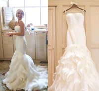 2017 Organza Mermaid Wedding Dresses,Cheap Bridal Dresses,Beach Wedding Dresses BDS0236