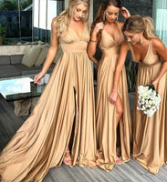 Deep V-neck Sexy Long Bridesmaid Dress,Popular Wedding Party Dress PDS0679