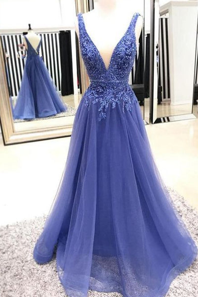 Backless Long Prom Dress with Applique and Beading Wedding Party Dress Formal Dress PDS0654