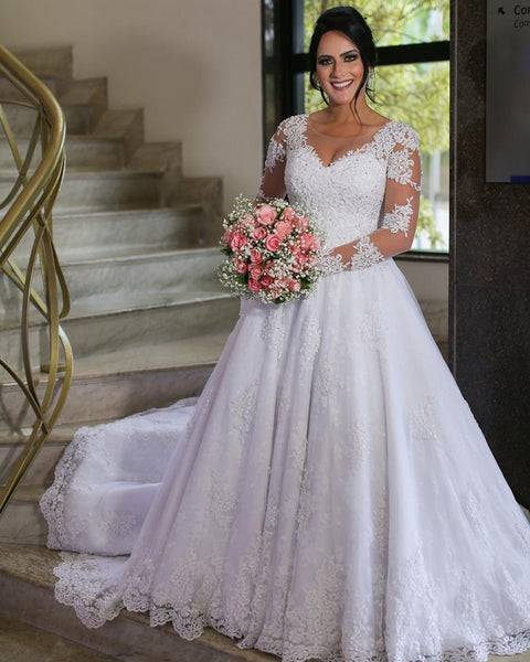 Lace Wedding Dress with Sleeves, Fashion Bridal Gown For Brides BDS2000