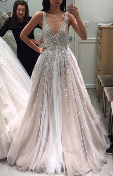 Deep V-neck A-line Wedding Dress 2018 New Beaded Bridal Dresses Vestidos de Novia BDS0588