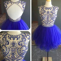 Short Tulle Beaded Homecoming Dress , Short Prom Dress, PDS0120