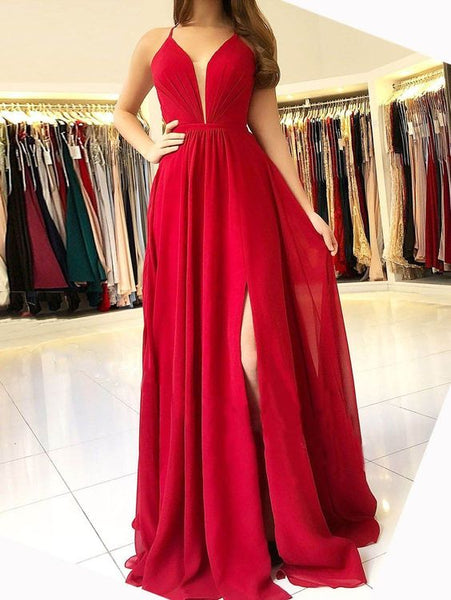 A-line Red Long Prom Dress ,Fashion Pageant Dress, School Dance Dress PDS0911