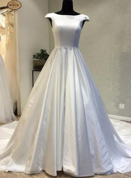 Cap Sleeves Ball Gown Satin Wedding Dress Real Photo Bridal Dresses Vestidos de Novia BDS0548