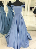 A-line Satin Long Prom Dress Wedding Party Dress Formal Dress PDS0601