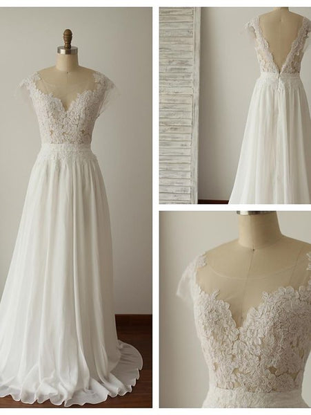 Backless A-line Wedding Dress ,Popular Chiffon Beach Wedding Dresses, Fashion Appliqued Bridal Dress BDS0178