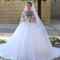 Fashion Tulle Ball Gown Wedding Dress With Appliqued ,Bridal Dresses Ball Gown Wedding Dress with Long Sleeves  BDS0393