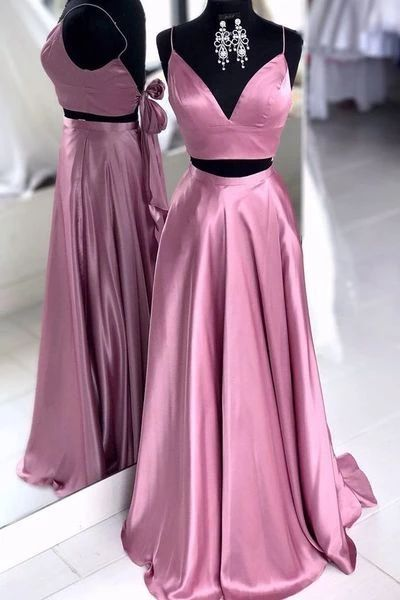 Two Pieces Simple Long Prom Dresses,Sweet 16 Dress, Pageant Dress, Wedding Party Dress PDS1114