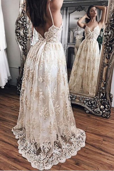 Sex A-line Wedding Dress ,Popular Beach Wedding Dresses, Fashion Appliqued Bridal Dress BDS0179
