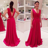 V-back Simple Long Prom Dress Wedding Party Dress Formal Dress PDS0597