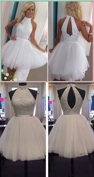A-line Beading Homecoming Dress with Open Back , Short Prom Dress, PDS0060