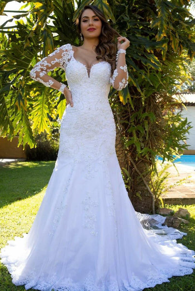 2019 Wedding Dress with Sleeves , A-line Bridal Dress ,Custom Made Dress For Wedding BDS0699