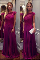 A-line Simple Long Prom Dress With Applique Wedding Party Dress Formal Dress PDS0598