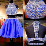 Two Piece Beaded Homecoming Dress , Short Prom Dress, PDS0121
