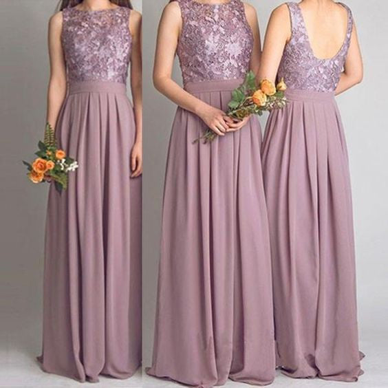 A-line Long Bridesmaid Dress,Popular Wedding Party Dress,Lace Top Long Prom Dress  PDS0029