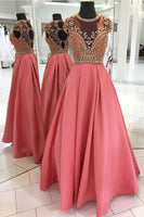 A-line Beaded Prom Dress, Long Homecoming Dress Graduation Party Dress Formal Dress PDS0737