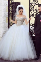 Off the Shoulder Tulle Wedding Dress ,Bridal Dresses Ball Gown Wedding Dress with Beading BDS0395