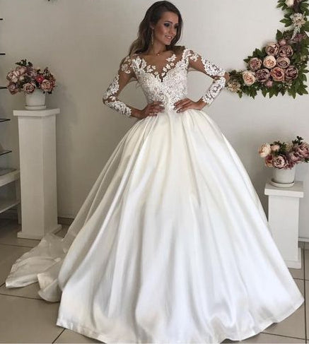2020 Ball Gown Wedding Dress with Applique ,Bridal Dress ,Custom Made Dress For Wedding BDS0707