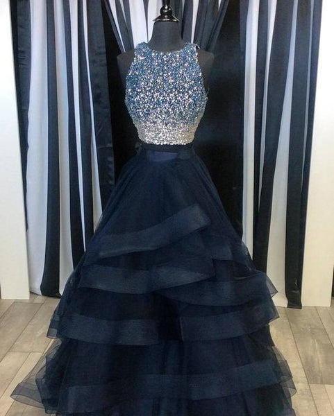 Two Piece Beaded Long Prom Dress,Beading Wedding Party Dress,Popular Cocktail Dress,Fashion Evening Dresses PDS0102