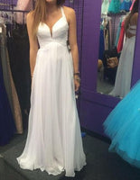 A-line White Simple Chiffon Long Prom Dress,Chiffon Beach Wedding Dress,Fashion Evening Dresses PDS0103
