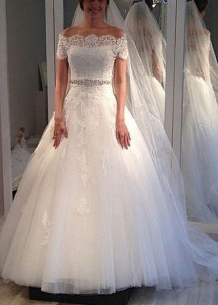 Off the Shoulder A-line Wedding Dress 2018 New Short Sleeves Bridal Dresses Vestidos de Novia BDS0587