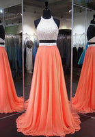Two Piece Long Prom Dress With Beading ,Popular Wedding Party Dress,Cocktail Dress,Fashion Evening Dresses PDS0308