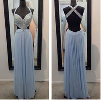 Open Back Beaded Long Prom Dress ,Wedding Party Dress,Popular Cocktail Dress,Fashion Evening Dress  PDS0176