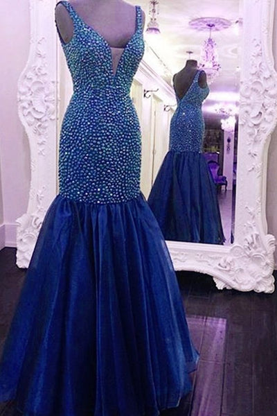 Mermaid Top Beaded Long Prom Dress, Wedding Party Dress ,Formal Dress PDS0516
