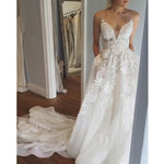 A-line Appliqued Wedding Dress ,Popular Beach Wedding Dresses, Fashion Bridal Dress BDS0186