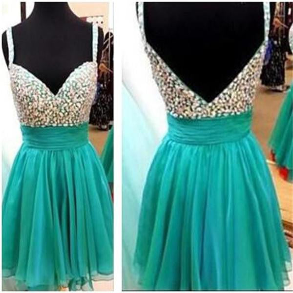 Backless Beaded Short Homecoming Dress , Short Prom Dress, PDS0122
