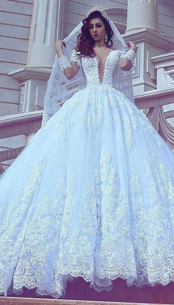 Deep V-neck Tulle Ball Gown Wedding Dress With Applique And Beading,Bridal Dresses Ball Gown Wedding Dress with Long Sleeves  BDS0394