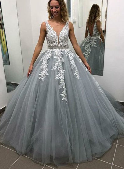 Backless Ball Gown Long Prom Dress With Applique ,Fashion Winter Formal Dress, Wedding Party Dress PDS0984