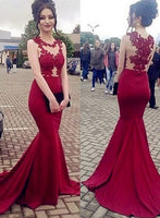 Fashion Mermaid Long Prom Dress Appliqued Wedding Party Dress Formal Dress PDS0635