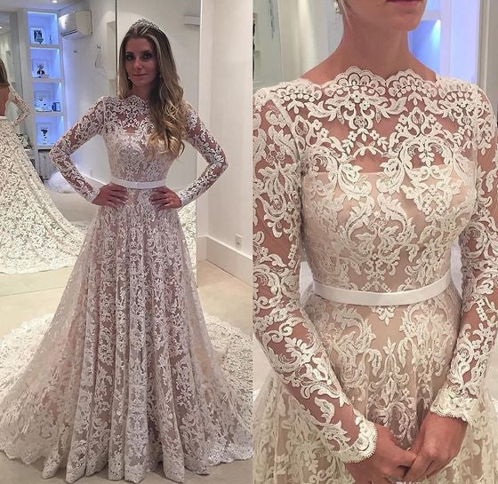 Lace A-line Wedding Bridal Dresses ,Vestidos de Novia BDS0325