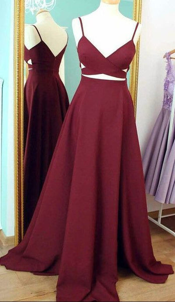 Burgundy A-line V-neck Prom Dress ,Popular Wedding Party Dress,Fashion Evening Dresses PDS0107