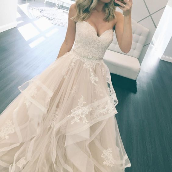 Sweetheart Ball Gown Wedding Dress Popular Beach Wedding