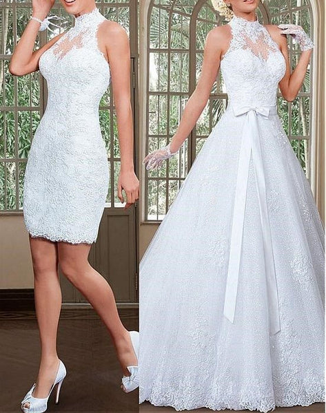 2 in 1 Halter Neck Wedding Dresses,Fashion Bridal Dresses  SN0623