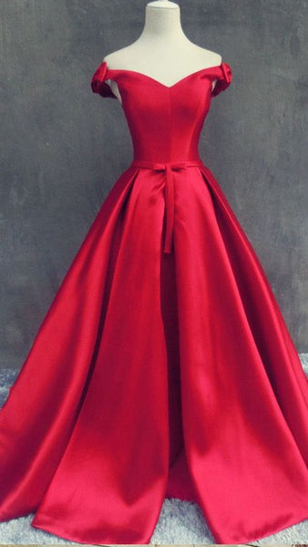 Off the Shoulder Red Satin Long Prom Dress Wedding Party Dress Formal Dress PDS0466