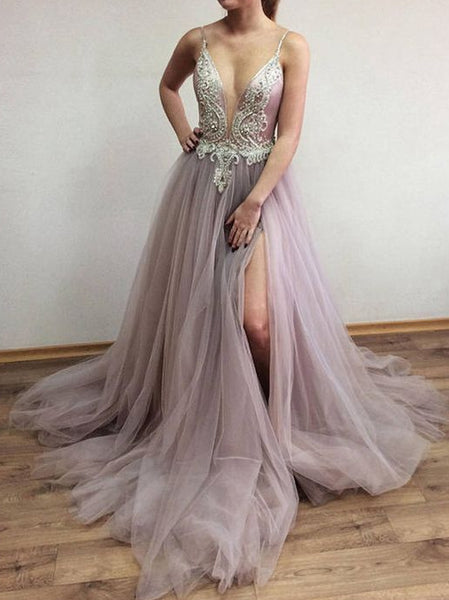 Sexy Long Tulle Prom Dress with Beading ,Fashion Pageant Dress, School Dance Dress PDS0900