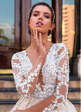 Fashion Wedding Dress Ball Gown With Applique ,Bridal Dresses Ball Gown Wedding Dress with Long Sleeves  BDS0220