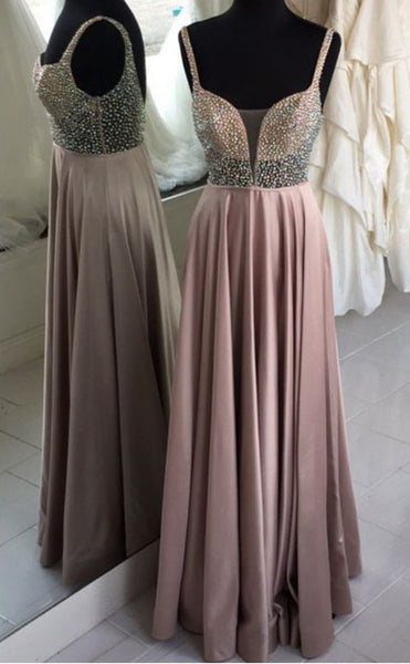 A-line Beaded Long Prom Dress ,Fashion Pageant Dress, School Dance Dress PDS0912